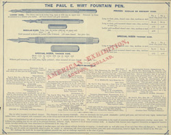 Advert for the Paul E Wirt Fountain Pen, reverse side